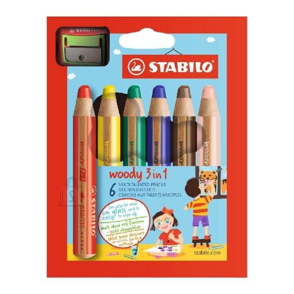 Stabilo paksud värvipliiatsid Woody + teritaja 6 värvi