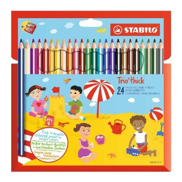 Stabilo kolmnurksed jämedad värvipliiatsid Trio 24 värvi