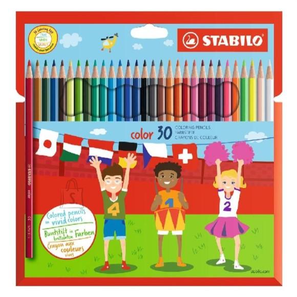 Stabilo kuusnurksed värvipliiatsid  30 värvi