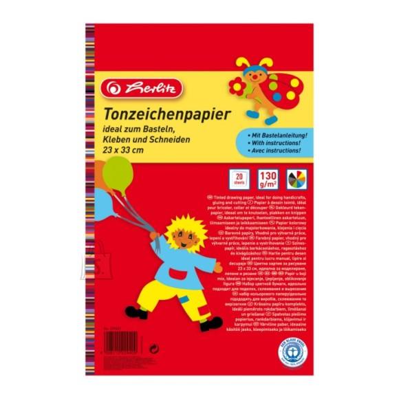 Herlitz kahepoolne värviline paber 20 lehte
