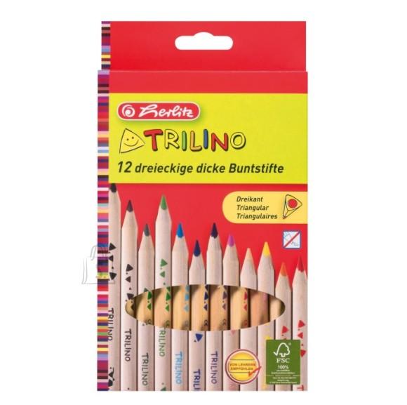 Herlitz jämedad värvipliiatsid Trilino 12 värvi