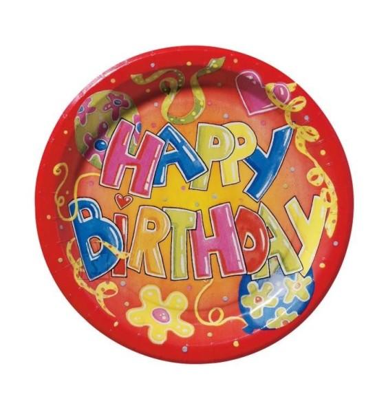 SusyCard papptaldrik Happy Birthdhay  23cm /10tk