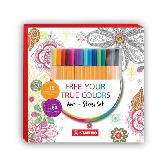 Stabilo värvimisraamat täiskasvanutele + tindipliiatsid