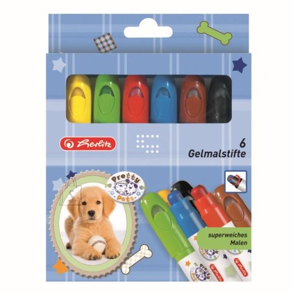Herlitz geelkriidid Pretty Pets 6 värvi