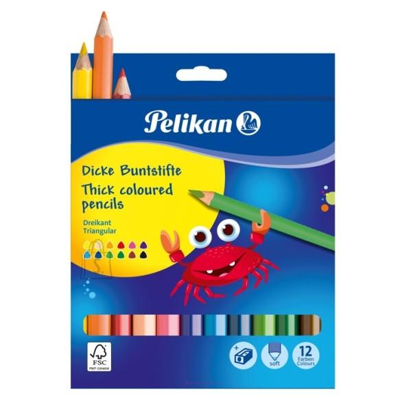 Pelikan värvipliiatsid 12 värvi+ teritaja