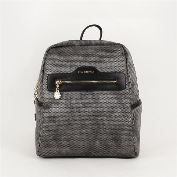 Silver & Polo Naiste seljakott eestaskuga Silver&Polo 866, hõbehall/must
