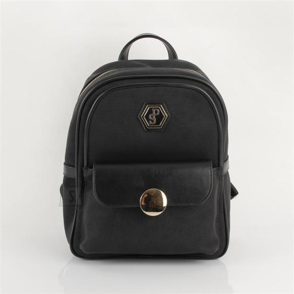 Silver & Polo Naiste seljakott klapp-taskuga Silver&Polo 871, must