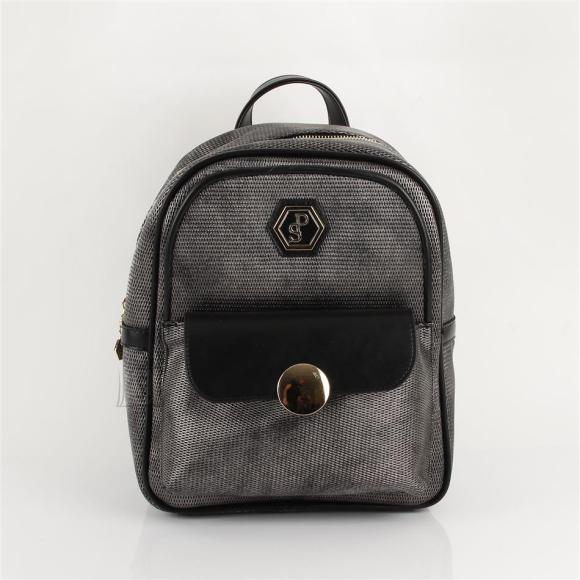 Silver & Polo Naiste seljakott klapp-taskuga Silver&Polo 871, hõbehall/must