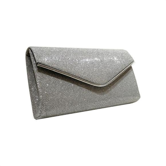 Silver & Polo Naiste õhtukott metalläärega 458, hõbedane