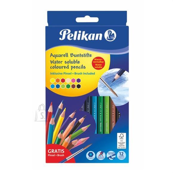 Pelikan Akvarellpliiats Pelikan 12 värvi kuusnurkne + pintsel