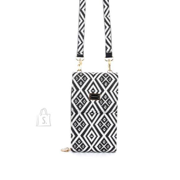 Silver & Polo Naiste õlakott telefonile Silver&Polo 889, mustriga valge/must