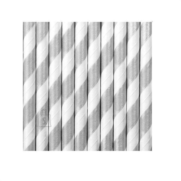Joogikõrred kartongist 10 tk /19,5cm hõbe-valge triibulised