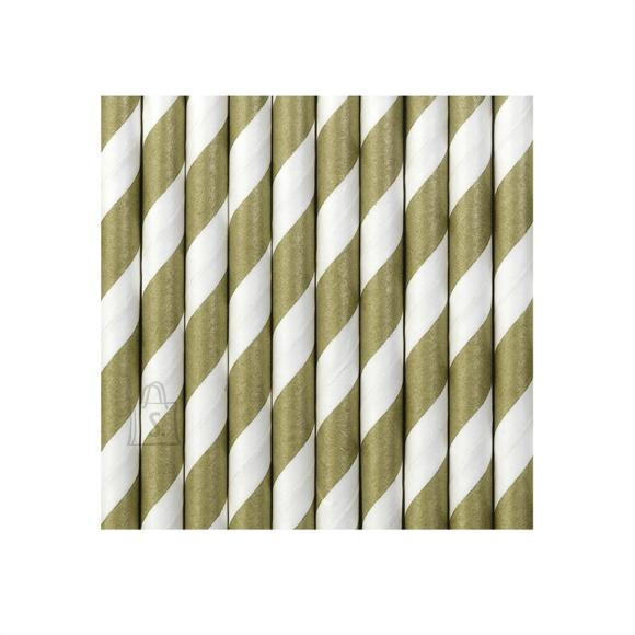 Joogikõrred kartongist 10 tk /19,5cm kuld-valge triibulised