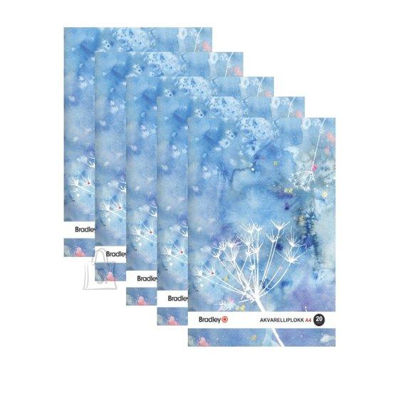 Bradley Joonistusplokk A4, 20 lehte, 210g akvarellile, 5 tükki pakis