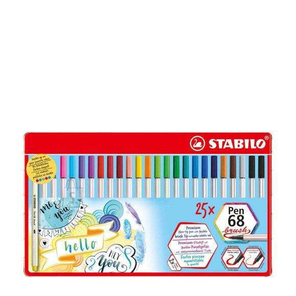 Stabilo Tindipliiatsid Pen 68 - pintselotsaga, 25 värvi