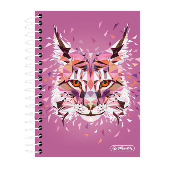 Herlitz Spiraalmärkmik Wild Animals / Ilves - A6/200, ruuduline