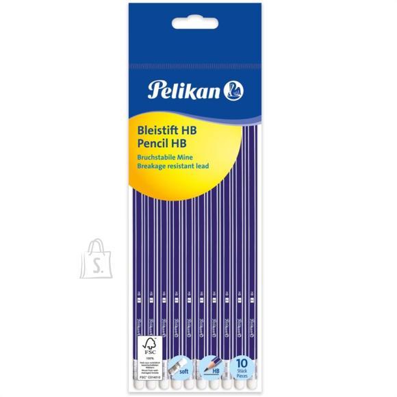 Pelikan Harilikud pliiatsid Pelikan - HB, kustukummiga, 10 tk