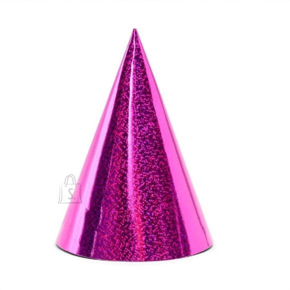 PartyDeco Peomüts - roosa, holograafiline, 6 tk