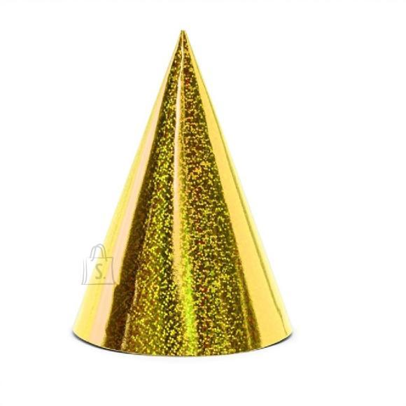 PartyDeco Peomüts - kuldne, holograafiline, 6 tk