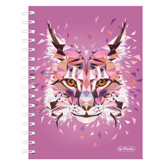 Herlitz Spiraalmärkmik Wild Animals / Ilves -  A5/100, ruuduline