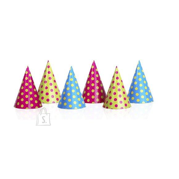 PartyDeco Peomüts - täpiline, 6 tk