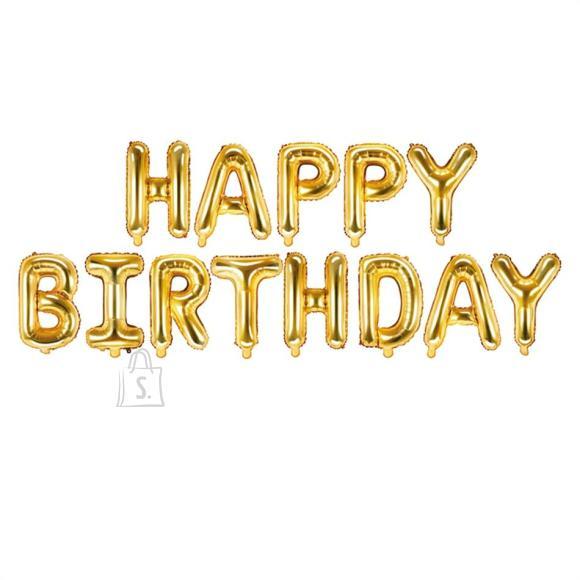 "PartyDeco Fooliumist õhupall ""Happy Birthday"" - 340 x 35 cm, kuldne"