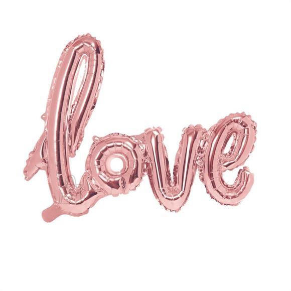 """PartyDeco Fooliumist õhupall """"Love"""" - 73 x 59 cm, kuldne/roosa"""
