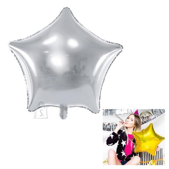 """PartyDeco Fooliumist õhupall """"Täht"""" - 48 cm, hõbedane"""