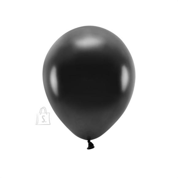 """PartyDeco Õhupallid 10 tk - """"Öko"""", must metallik, 30 cm"""