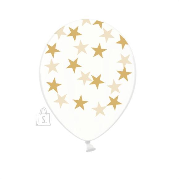 PartyDeco Õhupallid 6 tk - läbipaistev, tähekestega, 30 cm