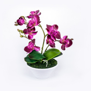 Lilla kunstlill orhidee 3 oksaga 30 cm