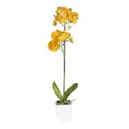 Oranž kunstlill orhidee 1 topelt oksaga 75cm