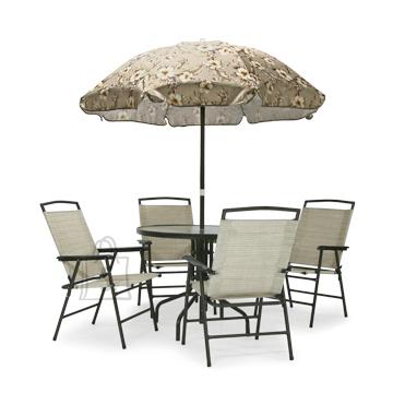 Aiamööbli komplekt laud + 4 tooli + päikesevari