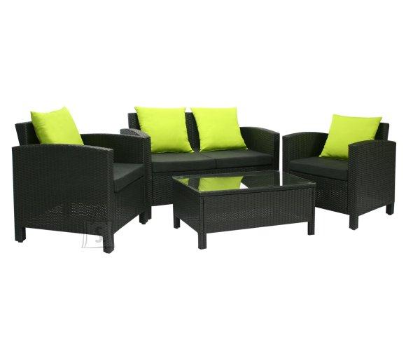 Aiamööbli komplekt Sicilia laud, diivan ja 2 tooli, must