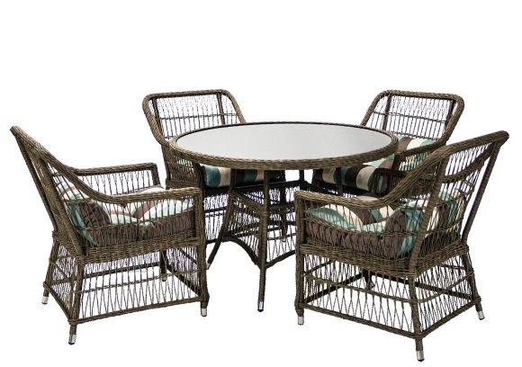 Aiamööbli komplekt Lugo laud ja 4 tooli