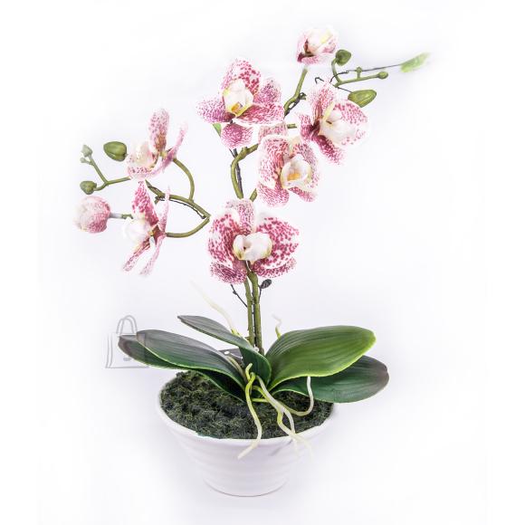 Roosa kirju kunstlill orhidee 2 oksaga