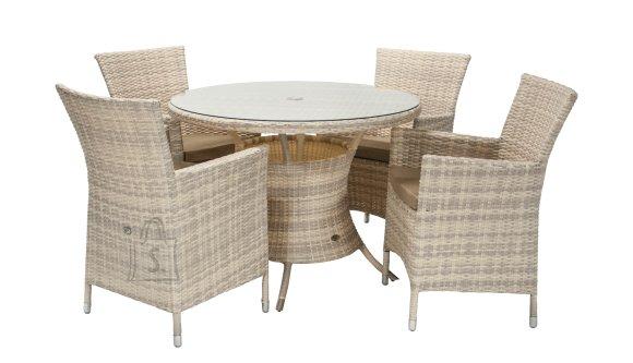 Aiamööblikomplekt Wicker laud ja 4 tooli