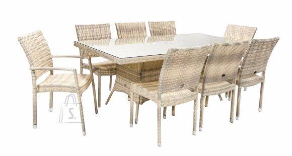 Aiamööblikomplekt Wicker laud ja 8 tooli