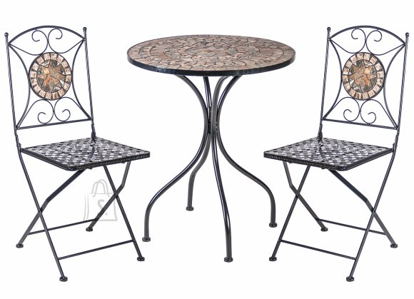 Aiamööbel Mosaic laud ja 2 tooli