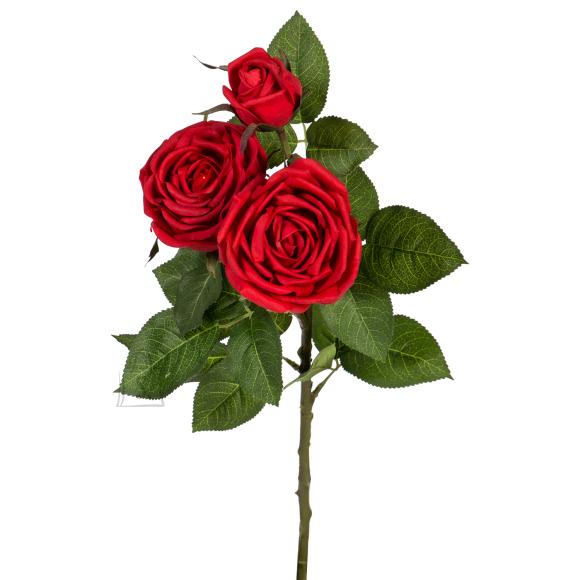 Kunstlill ROOS, 3 õienupuga, punane
