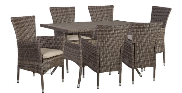Aiamööblikomplekt Paloma laud + 6 tooli