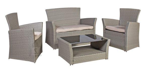 Aiamööblikomplekt Alaska laud, diivan ja 2 tooli