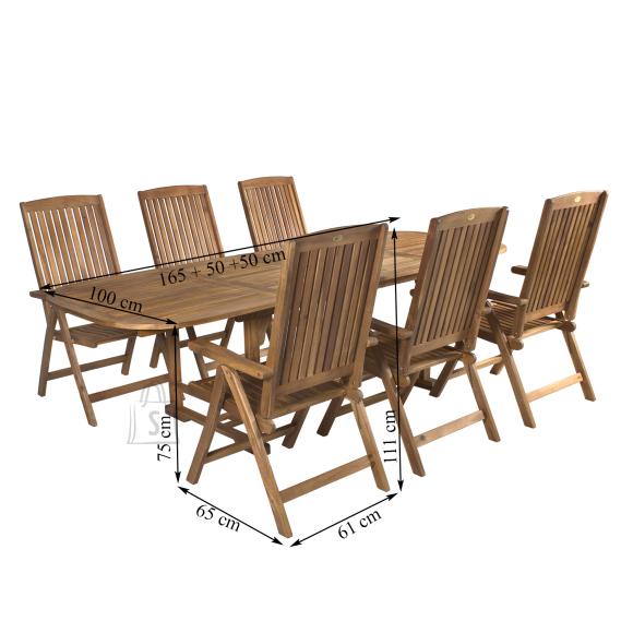 Aiamööbel Finlay laud + 6-tooli
