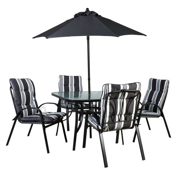 Aiamööbel Quatro laud, 4 tooli ja päikesevari