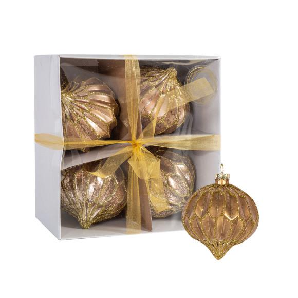 Kuuseehe klaaskuul-sibul Luxo kuldtahk 4tk