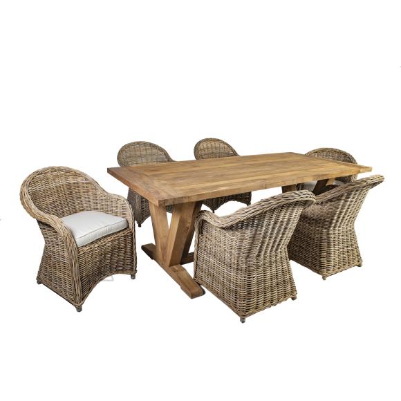 Aiamööbel Katalina laud ja 6 tooli