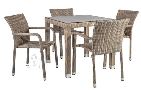 Aiamööbel Larache kandiline laud ja 4 tooli