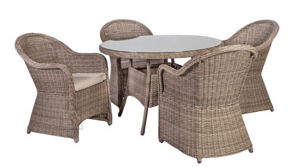 Aiamööbel Toscana ümmargune laud ja 4 tooli