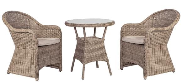 Aiamööbel Toscana väike laud ja 2 tooli