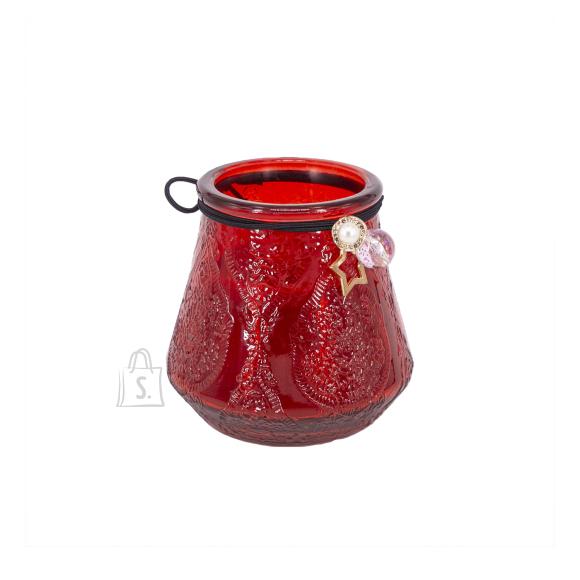 Klaasküünal VENEETSIA XL, H9.5cm, punane
